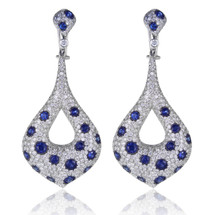 18K White Gold 16.57ct Diamond and Blue Sapphire Drop Earrings