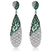 18K White Gold 14.39ct Diamond and Emerald Drop Earrings