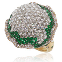 18k Yellow Gold 10.58ct Diamond  and Tsavorite Garnet Ring