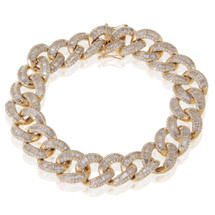 14k Yellow Gold 13.16ct Baguette Diamond Cuban Bracelet