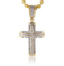10k Yellow Gold .16ct Diamond Design Cross Pendant