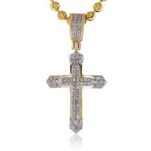 10k Yellow Gold .13ct Diamond Design Cross Pendant
