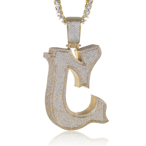 10k yellow gold custom diamond c pendant shyne jewelers image 1 aloadofball Image collections