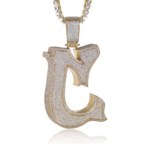 10k yellow gold custom diamond c pendant shyne jewelers custom diamond c pendant image 1 aloadofball Images