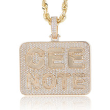 "10k Yellow Gold Custom Diamond ""CEE NOTE"" Pendant"