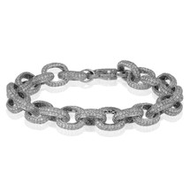 14k White Gold Custom Diamond Link Bracelet