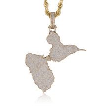 10k Yellow Gold Custom Diamond Guadeloupe Pendant