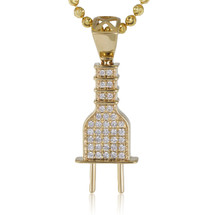 14k Yellow Gold .45ct Diamond Mini Plug Pendant