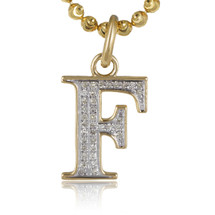 "10k Yellow Gold .15ct Diamond ""F"" Initial Pendant"