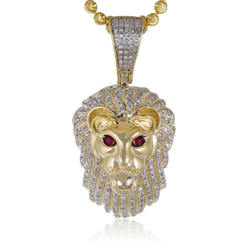 10k yellow gold 50ct diamond lions head pendant shyne jewelers lions head pendant image 1 aloadofball Choice Image