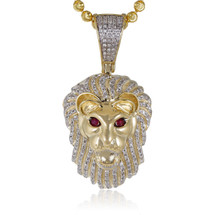 10k Yellow Gold .50ct Diamond Lion's Head Pendant