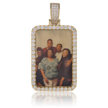 14k Yellow Gold Custom Diamond Portrait Pendant