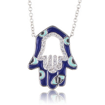 18k White Gold .29ct Diamond Hamsa Pendant