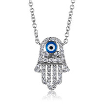 18k White Gold .32ct Diamond Hamsa Pendant