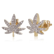 10k Yellow Gold .25ct Diamond Hemp Leaf Stud Earrings