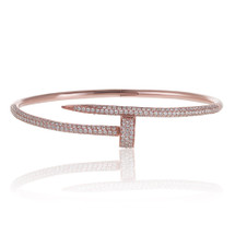 18K Rose Gold Diamond Nail Bracelet