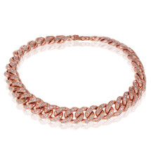 14k Rose Gold 3ct Diamond Small Cuban Bracelet