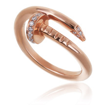 18k Rose Gold .12ct Diamond Nail Ring