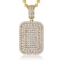 14k Yellow Gold 2.75ct Diamond Dog Tag Pendant