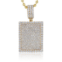 14k Yellow Gold 5.00ct Diamond Dog Tag Pendant