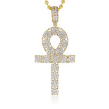 14k Yellow Gold 2.97ct Diamond Ankh Pendant