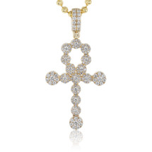 14k Yellow Gold 2.00ct Diamond Circle Ankh Pendant