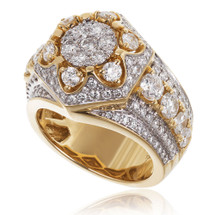 14K Yellow Gold Men's  4.43ct Diamond Ring