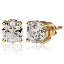 14k Yellow Gold 2.00ct Diamond Solitaire Stud Earrings
