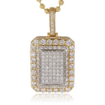 10k Yellow Gold 4.25ct Diamond Dog Tag Pendant