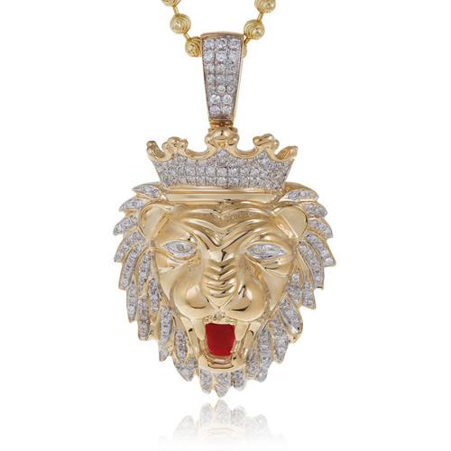 10k yellow gold 75ct diamond lions head pendant shyne jewelers lions head pendant image 1 aloadofball Choice Image
