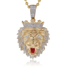 10k Yellow Gold .75ct Diamond Lion's Head Pendant