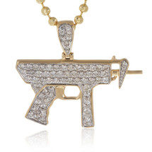 10k Yellow Gold 1.50ct Diamond Uzi Gun Pendant
