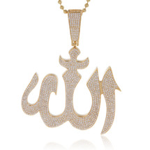 14k Yellow Gold 5.00ct Diamond Solid Allah Pendant