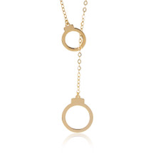 14K Yellow Gold Handcuff Adjustable Necklace