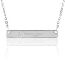 "14K White Gold ""I Love You"" Bar Necklace"