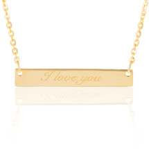"14K Yellow Gold ""I Love You"" Bar Necklace"