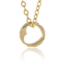 14K Yellow Gold Heart Ring Necklace