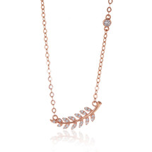 14K Rose Gold Diamond Leaf Necklace