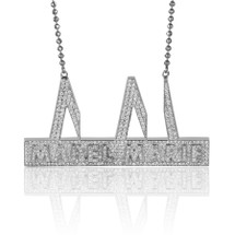 "14k White Gold Custom Diamond ""Mabel Marie"" Pendant"