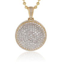 10k Yellow Gold 3.50ct Diamond Circle Dome Pendant