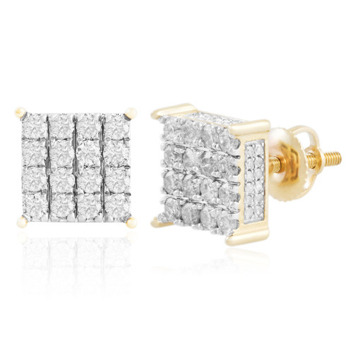 halo stud flower yellow earring diamond quad genuine shaped gold