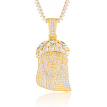 14k Yellow Gold 11.52ct Diamond Jesus Head Pendant Fancy Crown