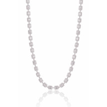 14k White Gold 14.02ct Diamond Baguette Necklace