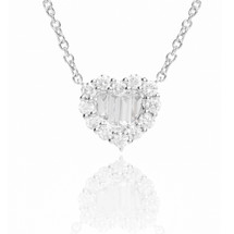 18k White Gold Diamond Heart Pendant .85ct