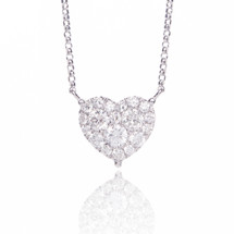 18k White Gold Diamond Heart Pendant .67ct