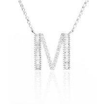 18k White Gold Diamond 'M' Initial Pendant .31ct