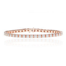 14k Rose Gold Diamond Tennis Bracelet 3.38ct