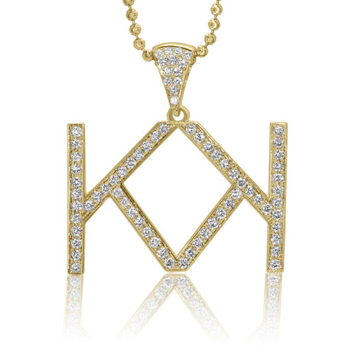 10k custom yellow gold diamond double k initial pendant shyne jewelers double k initial pendant image 1 mozeypictures Images