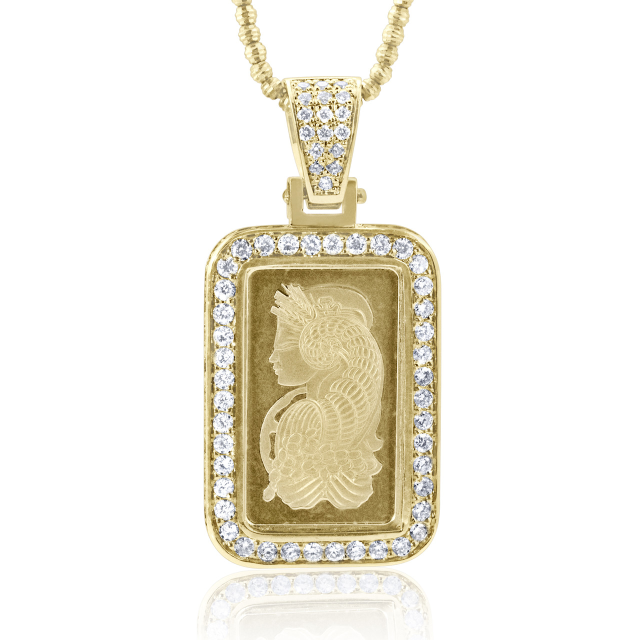 14k Yellow Gold 1 75ct Diamond 24k Pamp Suisse Pendant