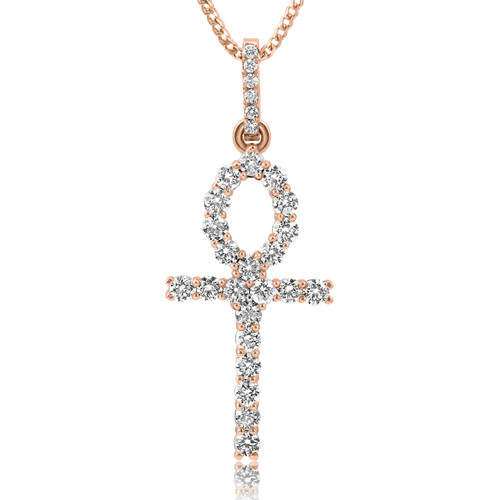 10k rose gold 2ct diamond ankh pendant shyne jewelers image 1 mozeypictures Image collections